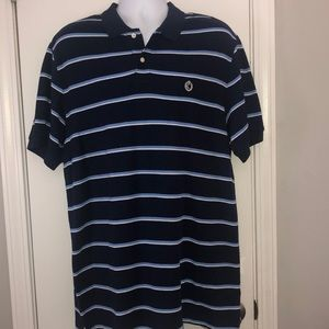 🏵Chap's Men's Polo, NWT, Navy Stripe Large